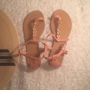 Bamboo flat sandals. Size 7
